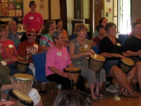 Ladies drumming at workshop