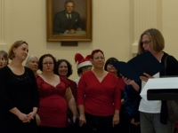 Jenn and sopranos listen to proclamation of Tapestry Singers Week