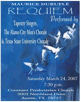 Spring 2007Maurice Durufle Requiem Program Cover